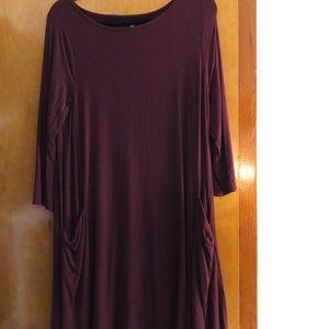 Dresses & Skirts - L Burgundy Dress with Pockets, Comfy, Soft